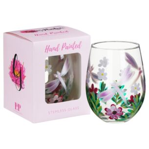 Hand Painted Dragonfly With White Flowers Stemless Gin Glass