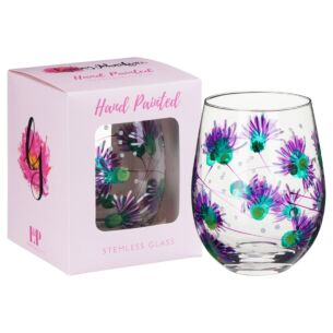 Hand Painted Thistle Stemless Gin Glass