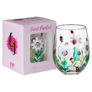 Hand Painted Ladybirds Stemless Glass