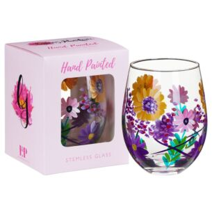 Hand Painted Sunflowers Stemless Gin Glass