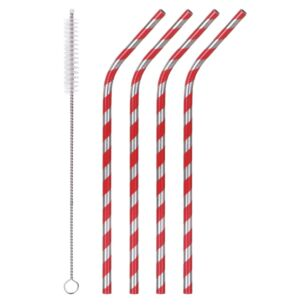 Striped Set Of 4 Stainless Steel Drinking Straws