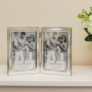 Silver Plated Wide Edge Double Photo Frame 6x4