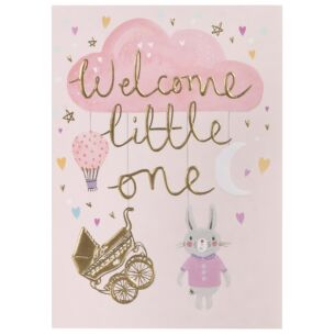 Louise Tiler 'Welcome Little One' Pink Baby Card