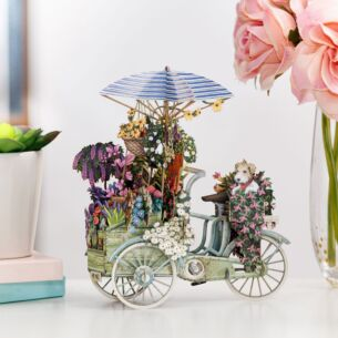 """Flower Seller's Bike"" Blue 3D Birthday Card"