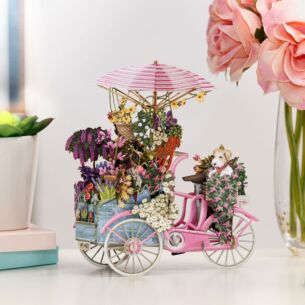 """Flower Seller's Pink Bicycle"" 3D Birthday Card"