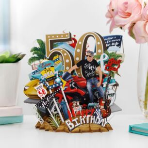 """""""50 Today"""" Male 3D Birthday Card"""