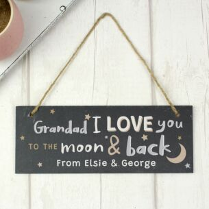 Personalised 'To The Moon and Back Hanging Slate Plaque'