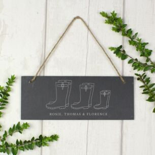 Personalised Welly Boot 'Family of Three' Hanging Slate Plaque