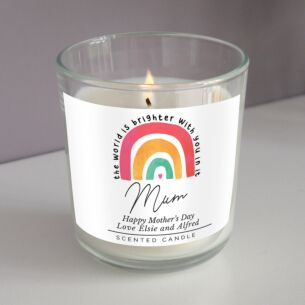 Personalised 'You Make The World Brighter' Rainbow Scented Jar Candle
