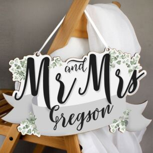 Personalised 'Mr & Mrs' Wooden Hanging Decoration