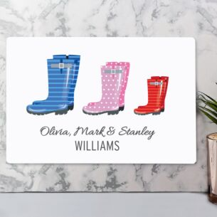 Personalised Our Family Wellies Metal Sign - Family of 3