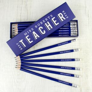 Personalised Best Teacher Ever Box and 12 Blue HB Pencils