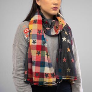 Grey Stars Double Sided Scarf