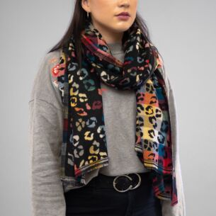 Black Animal Print Double Sided Scarf