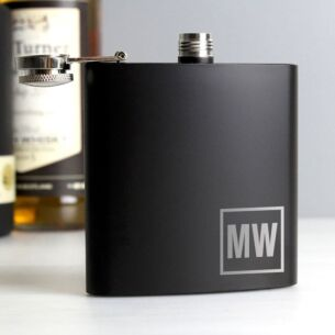 Personalised Boxed Black Initials Hip Flask