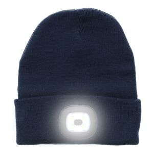 Light Up Rechargeable USB Beanie Hat Indigo Blue