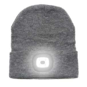 Light Up Rechargeable USB Beanie Hat Grey