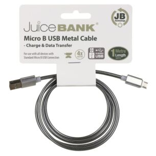 Juice Bank Silver 1m Micro B to USB Metal Cable