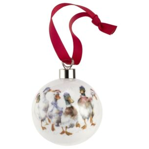 All Wrapped Up Ducks Christmas Bauble from Royal Worcester