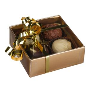 4 Belgian Chocolate Truffles in Gold Presentation Box