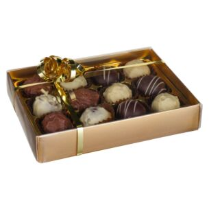 12 Belgian Chocolate Truffles in Gold Presentation Box