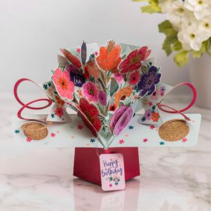 Mixed Flowers Pop Up Birthday Card