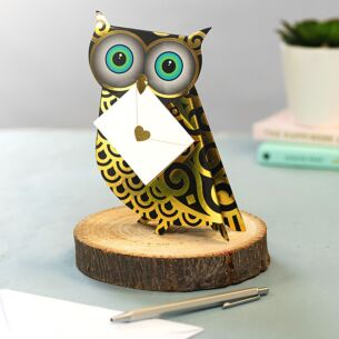 Quill Owl 3D Greeting Card