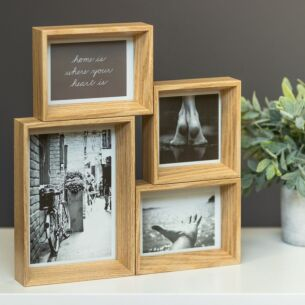 Deep Edge Beech Collage Frame With Four Displays