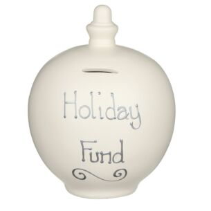 'Holiday Fund' Silver on Cream Money Pot