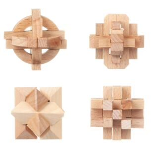 Wooden Brain Teaser Puzzles – Pack of 4