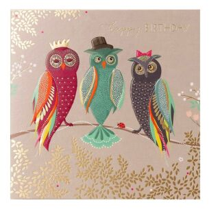 Three Wise Owls Birthday Card