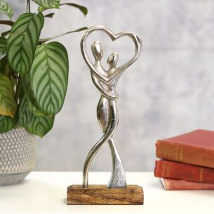 Silver Metal Dancing Couple On Wooden Base Decoration