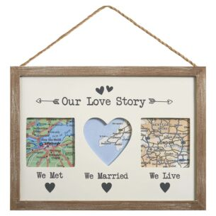 'Our Love Story' Triple Map Frame