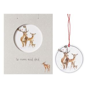 'To Mum and Dad' Christmas Card with Tree Decoration