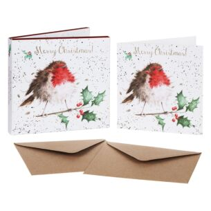'The Jolly Robin' Set of 8 Luxury Gold Foiled Christmas Cards