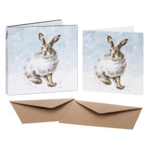 'Winter Hare' Set of 8 Luxury Gold Foiled Christmas Cards