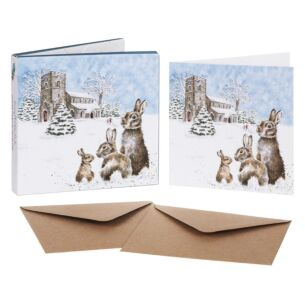 'Silent Night' Set of 8 Luxury Gold Foiled Christmas Cards