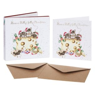 'Holly Jolly Christmas' Set of 8 Luxury Gold Foiled Christmas Cards
