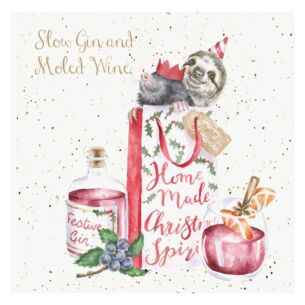Slow Gin and Moled Wine Christmas Card