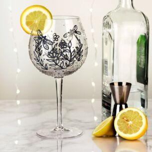 Hand Painted Silver Dragonfly Gin Goblet