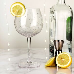 Hand Painted White Spots Gin Goblet