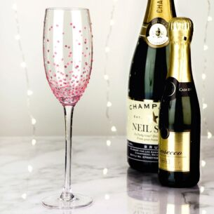 Hand Painted Pink Spots Champagne Flute