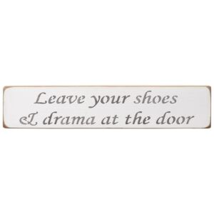 'Leave Your Shoes' Long White Wooden Sign